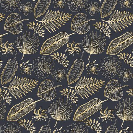 Elegante motivo senza cuciture con foglie e fiori tropicali dorati di contorno su sfondo blu scuro. Texture di piante esotiche alla moda per tessuti, carta da imballaggio, superficie, carta da parati, sfondo Vettoriali