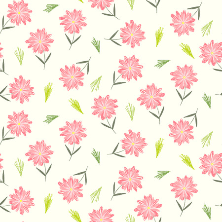 Cute sketchy floral seamless pattern with childish pink flowers and green leaves. Colorful naive texture with gerbera blossoms and grass for textile, wrapping paper, background, surface, wallpaper