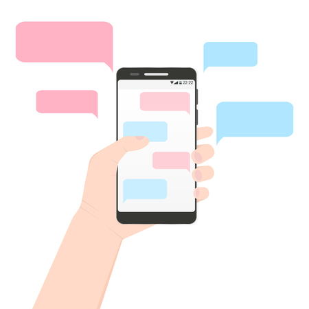 Left hand holding smartphone with pink and blue colors message clouds. European handle mobile phone with his finger touching screen with discussion bubbles Illustration