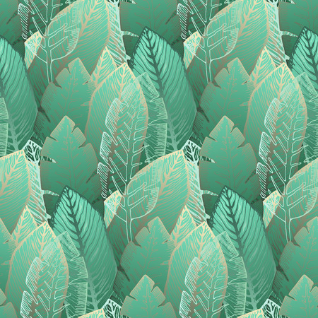Elegant seamless pattern with overlay outline golden and tender green tropical leaves. Trendy exotic plants texture for textile, wrapping paper, surface, wallpaper, background