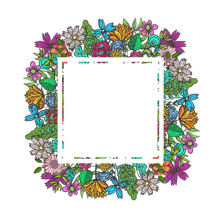 Square white frame with colorful doodle flowers and leaves. Summer childish floral rectangular background for kids birthday greeting cards, banner design, spring children event decoration Illustration
