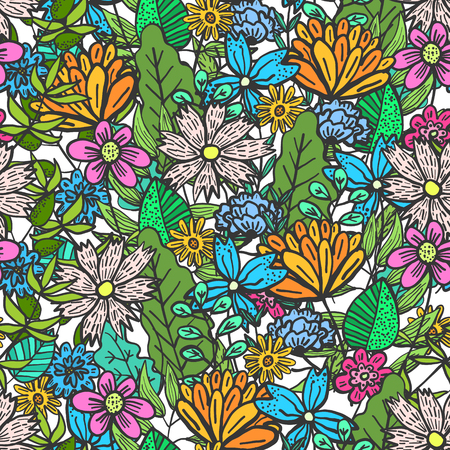 Cute doodle floral seamless pattern with mess of colorful flowers and leaves. Childish naive texture with outline blossoms and herbs bouquet for textile, wrapping paper, background, surface, wallpaper