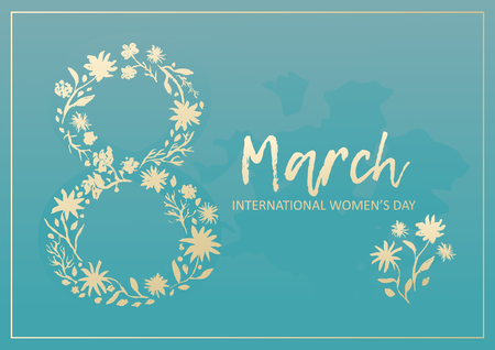 Tender blue greeting card for 8 March, happy womens day, with golden number floral silhouette. Rectangular turquoise frame with lovely flowers bouquet for spring holidays banners and postcards design