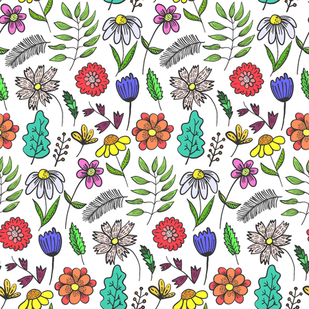 Bright doodle floral seamless pattern with colorful flowers and leaves on white background. Childish naive texture with outline blossoms and herbs for textile, wrapping paper, surface, wallpaper