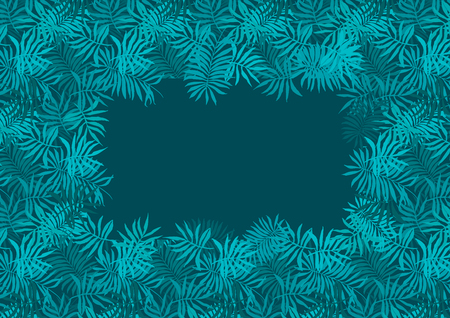 Deep emerald green frame of fern tropical leaves with dark blue center background. Trendy rectangle aquamarine exotic greenery border for summer greeting cards, banner design, wedding invitation