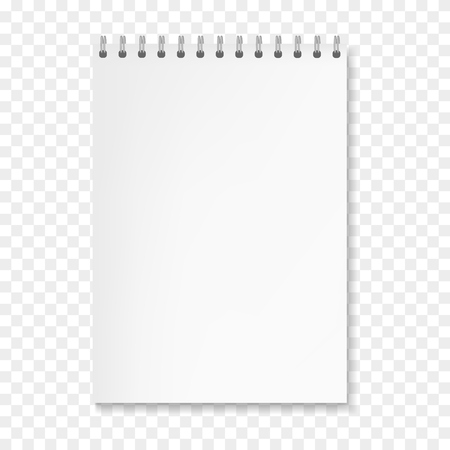 Maquette de cahier de feuilles blanches verticales vectorielles réalistes. Cahier avec papier vierge sur reliure à spirale à anneaux métalliques, modèle d'organisateur pour la conception de présentation d'entreprise ou d'éducation