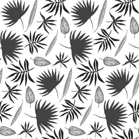 Contrast black and white seamless pattern with hand drawn inky tropical leaves. Monochrome chinese ink exotic floral elements texture for textile, wrapping paper, cover, surface, wallpaper