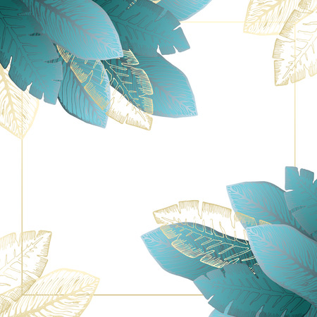 Square white background with tender shiny blue and golden tropical leaves in corners. Summer exotic emerald leaf frame for birthday greeting cards, banner design, wedding decoration Illustration