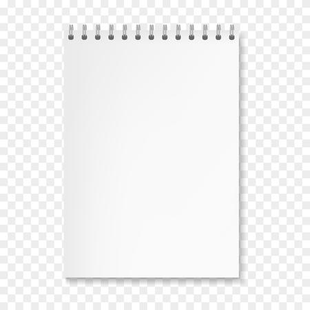 リアルなベクトル垂直白いシートノートブックモックアップ。金属環スパイラルバインダーに白紙を用いたコピーブック、ビジネスまたは教育プレゼンテーションデザインのためのオーガナイザーテンプレート
