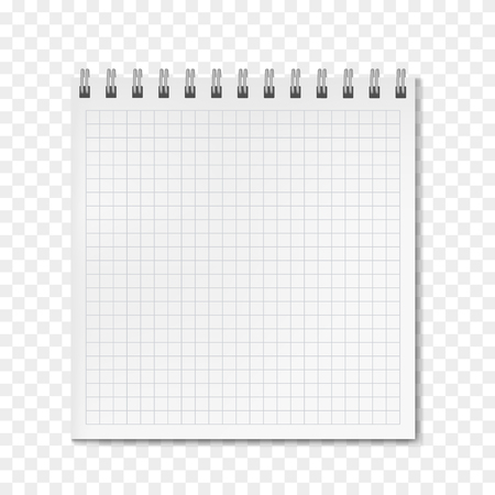 Square vertical vector realistic white math ruled notebook. School copybook with blank quad paper on metallic ring spiral binder, personal organizer mockup or template for your text Иллюстрация