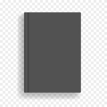 Black rectangular vector blank black realistic book mockup, closed organizer or notebook cover template with sheet of A4. Front view of elegant gray notepad or photobook with binding mock up