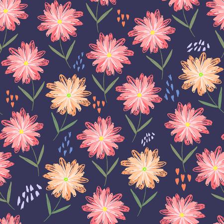 Modèle sans couture floral sommaire enfantin avec des fleurs, des coeurs et des points oranges et roses. Texture scandinave mignonne avec gerbera sur fond sombre pour textile, papier d'emballage, surface, papier peint Vecteurs