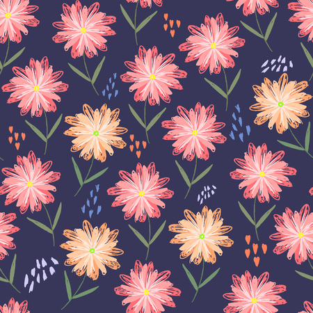 Childish sketchy floral seamless pattern with orange and pink flowers, hearts and dots. Cute scandinavian texture with gerbera on dark background for textile, wrapping paper, surface, wallpaper Illustration