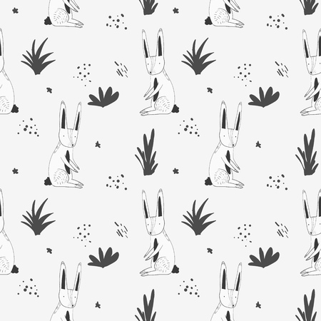 Cute monochrome seamless pattern with white cartoon rabbits, grass and dots. Funny hand drawn texture with hare and herbs for kids design, wallpaper, textile, wrapping paper Ilustrace