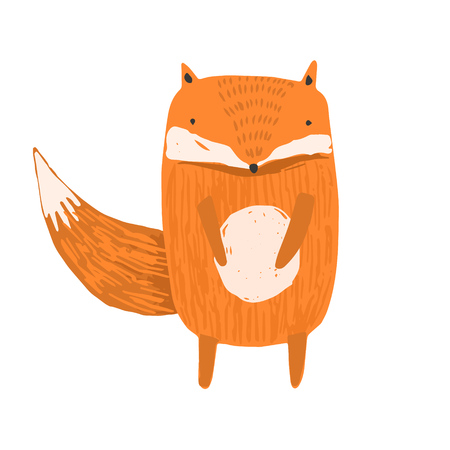 Cute childish hand drawn orange fox illustration isolated on white background. Kids sketchy foxy character for print design, stickers, background decoration