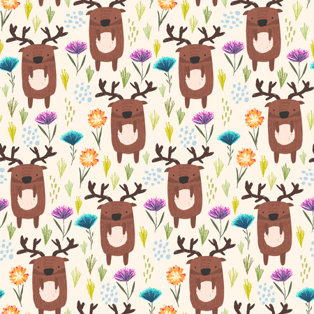 Cute seamless pattern with cartoon brown sketchy deers with antlers, childish flowers and grass. Funny summer hand drawn moose texture for kids design, wallpaper, textile, wrapping paper
