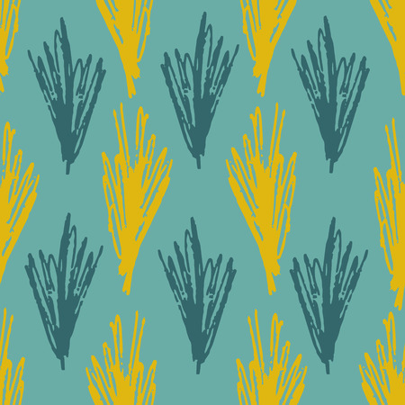 Pale colors seamless pattern with blue, turquoise and olive colors grass on teal background. Trendy abstract vector leaves texture for textile, wrapping paper, surface, cover, web design