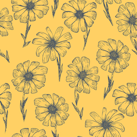 Retro sketchy seamless pattern with blue outline ink pen chamomile flowers on tender blue background. Hand drawn illustration of beautiful gerbera flower, texture for textile, wrapping paper, surface