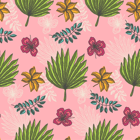 Bright seamless pattern with colorful tropical leaves and flowers on light pink background. Trendy exotic plants texture for textile, wrapping paper, surface design, wallpaper Standard-Bild - 124518924
