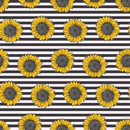 Hipster seamless pattern with colorful sketch sunflowers on black and white striped background. Trendy hand drawn illustration of beautiful sun flower, texture for textile, wrapping paper, surface