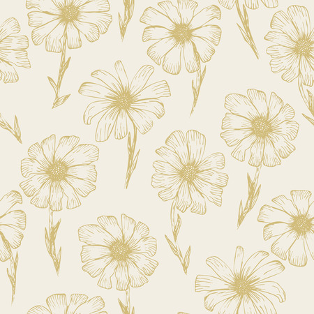Retro sketchy seamless pattern with yellow outline ink pen chamomile flowers on pale beige background. Hand drawn illustration of beautiful gerbera flower, texture for textile, wrapping paper, surface
