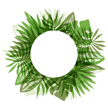 Fresh green color round frame with overlapping mess of hand drawn tropical leaves. Trendy rounded exotic greenery border for summer greeting cards, banner design, wedding decoration