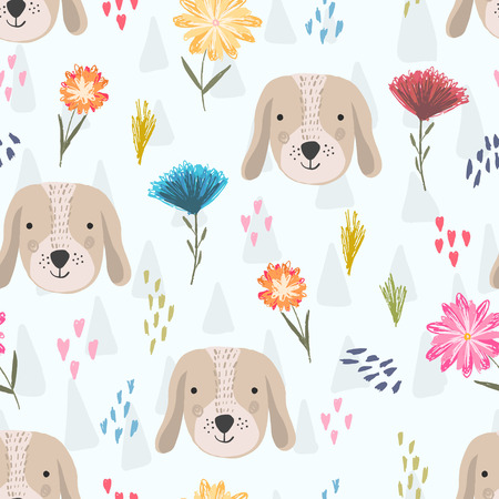 Cute seamless pattern with cartoon colorful dog heads, pink hearts and colorful childish flowers. Funny hand drawn domestic puppy texture for kids design, wallpaper, textile, wrapping paper