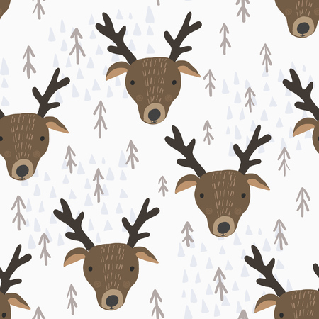 Cute seamless pattern with cartoon brown deers heads with antlers, brown fir trees and light blue mountains. Funny hand drawn moose texture for kids design, wallpaper, textile, wrapping paper