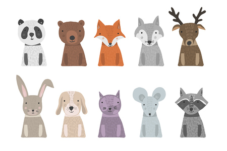 Set of cute cartoon hand drawn animals with torso in bright colors. Vector illustration of animal heads as panda, bear, fox, raccoon, cat, mouse for pattern, print design, kids app and book