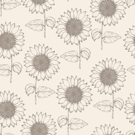Retro seamless pattern with outline ink pen sunflower sketch on tender beige background. Brown hand drawn illustration of beautiful sun flower, texture for textile, wrapping paper, surface