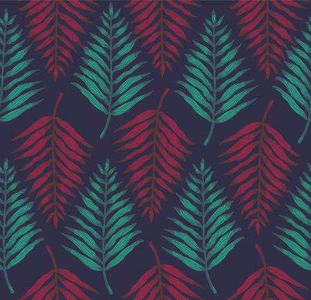 Magic seamless pattern with red and green tropical fern leaves on dark blue background. Dark trendy vector exotic leaf texture for textile, wrapping paper, surface, cover, web design 向量圖像