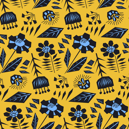 Contrast doodle orange floral seamless pattern in scandinavian style with black and blue flowers. Cute cartoon texture with botanical silhouettes for textile, wrapping paper, print design, background
