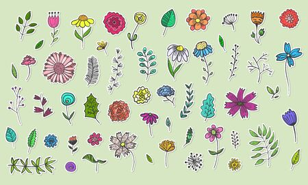 Collection of cute hand drawn colorful flowers and herbs stickers, plants with black outline. Big vector set of floral labels for pattern design, greeting card decoration, logo  イラスト・ベクター素材