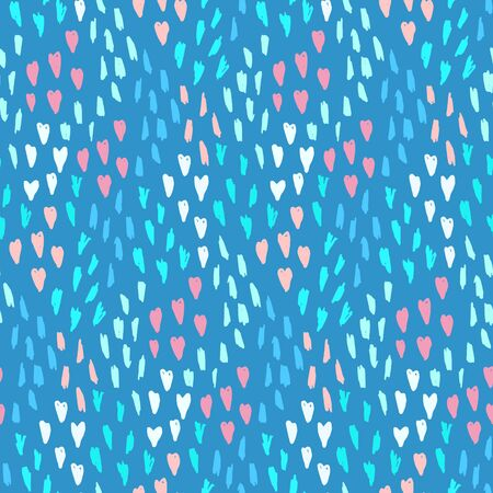 Cute blue seamless pattern with mess of pink hearts and dotted elements. Lovely vector texture with doodle hand drawn shapes for Valentines wrapping paper, surface, textile, background