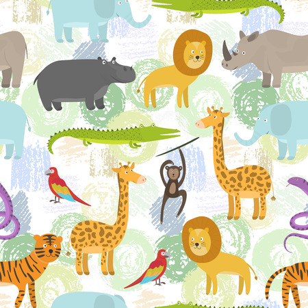 Childish seamless pattern with cute cartoon jungle animals on grunge shapes background. Funny hand drawn texture with zebra, lion, giraffe for kids design, wallpaper, textile, wrapping paper