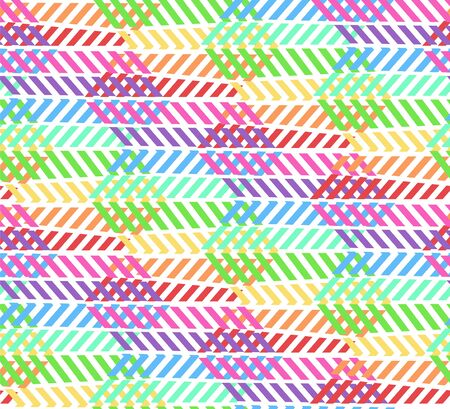 Abstract light striped rainbow colors zigzag pattern with rhombus. Vector colorful contrast sunbow texture for youth textile, wrapping paper, covers, banners, wallpapers, backgrounds