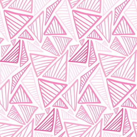 Tender pink seamless pattern with doodle striped triangles. Abstract fashion trendy vector texture with hand drawn shapes for textile, wrapping paper, cover, surface, background, wallpaper  イラスト・ベクター素材