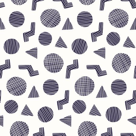 Trendy seamless pattern with dark blue doodle striped geometric shapes. Abstract fashion vector texture with hand drawn elements for textile, wrapping paper, cover, surface, background, wallpaper  イラスト・ベクター素材