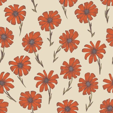 Tender warm seamless pattern with red and orange chamomile flowers. Retro hand drawn illustration of beautiful terra-cotta gerbera flower, texture for textile, wrapping paper, surface, background  イラスト・ベクター素材