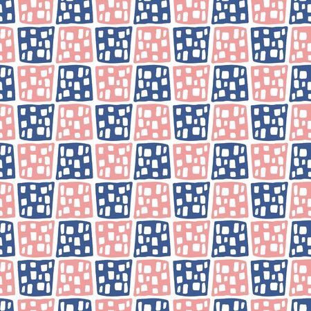 Cute blue and pink seamless pattern with doodle dotted square geometric shapes. Abstract vector texture with hand drawn rectangles for textile, wrapping paper, surface, background, wallpaper