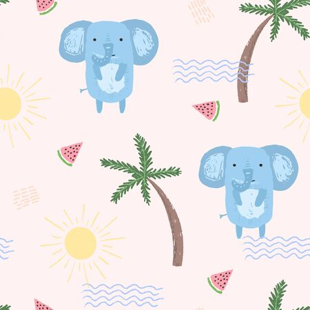 Cute summer seamless pattern with sketchy blue elephants, colorful waves, palms and melons. Funny hand drawn childish vacation texture for kids design, wallpaper, textile, wrapping paper