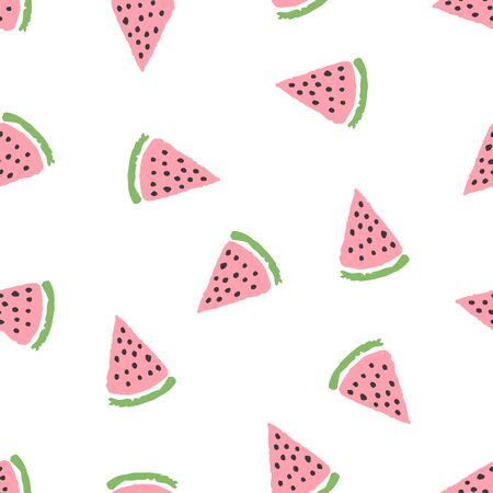 Cute tender pastel colors seamless pattern with hand drawn watermelon slices with black seeds. Bright sweet summer texture for kids design, wallpaper, textile, wrapping paper