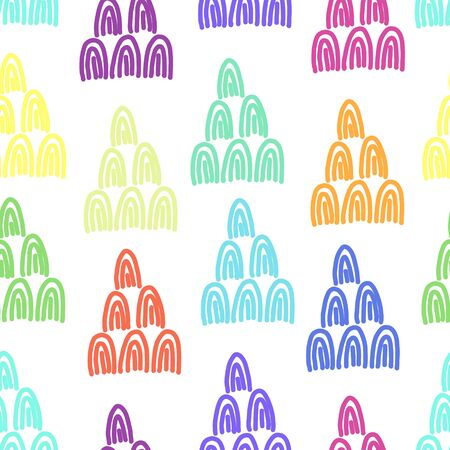 Trendy rainbow colors seamless pattern with doodle arc shapes. Abstract fashion vector texture with hand drawn elements for textile, wrapping paper, surface, background, wallpaper