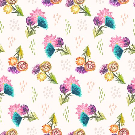 Cute light sketchy seamless pattern with orange, blue and pink flowers bouquets and colorful dots. Childish scandinavian floral texture for textile, wrapping paper, surface, wallpaper