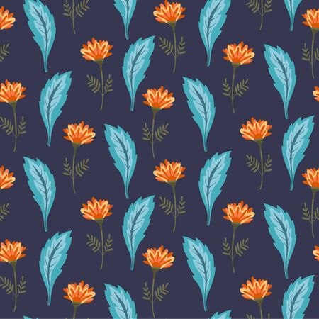 Magic dark floral seamless pattern with cute orange flowers and blue leaves. Summer night botanical texture with outline blossoms and herbs for textile, wrapping paper, background, surface, wallpaper 写真素材