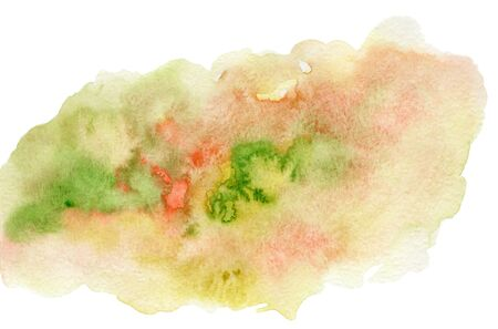 Bright expressive green, yellow and red wet watercolor blob, wash technique. Contrast summer field concept illustration, abstract watercolour stain for decoration, background 写真素材