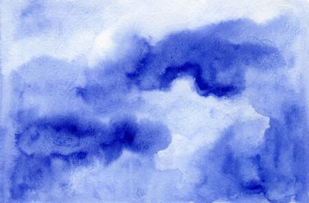 Dramatic dark and light blue cloudscape wet watercolor background, wash technique. Bright stormy sky watercolour concept illustration