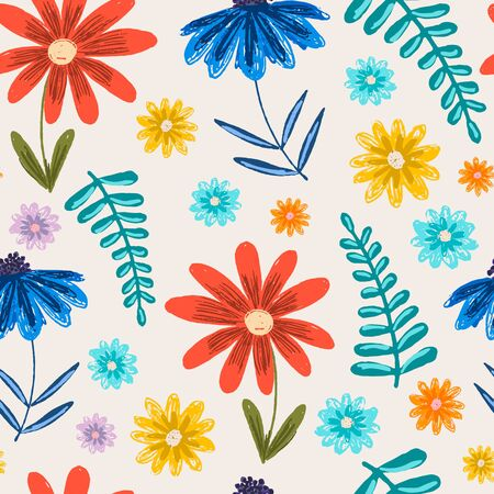 Cute childish sketchy seamless pattern with bright colorful flowers and leaves. Red and blue floral texture with fantasy blossoms for kids textile, wrapping paper, background, surface, wallpaper