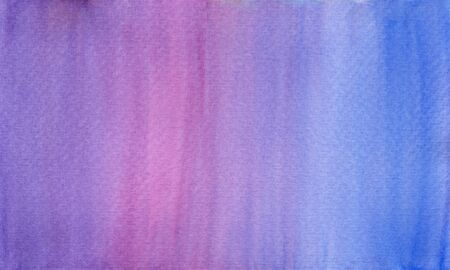 Horizontal gradient from purple to blue with dark pink watercolor background, wash technique. Abstract sunrise or sunset sky watercolour textured concept Zdjęcie Seryjne