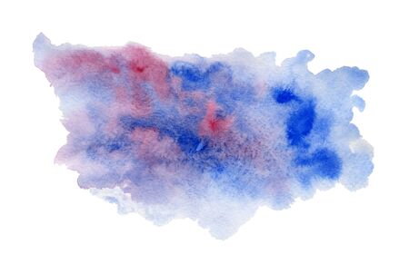 Deep blue and pink expressive wet watercolor texture blob isolated on white background, wash technique. Modern creative ink stain for decoration, abstract water, map or cloud concept